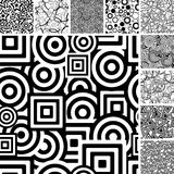 Set of black and white patterns. Retro black and white seamless backgrounds Stock Image