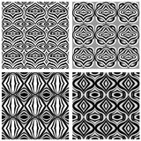 Set of black and white patterns. Abstract geometric seamless pattern. Set of black and white patterns Royalty Free Stock Images