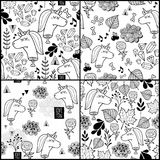 Set of black and white patterns with dead unicorn. Royalty Free Stock Photo