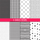 Set of black and white patterns. Set of eight different ornamental patterns. Ethnic floral and geometric ornaments Stock Images