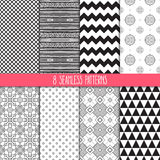 Set of black and white patterns Royalty Free Stock Image