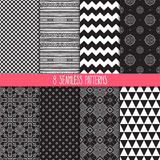 Set of black and white patterns Royalty Free Stock Images