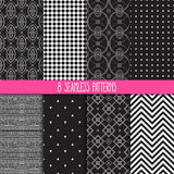 Set of black and white patterns Royalty Free Stock Photo