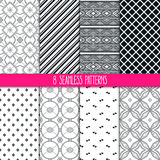 Set of black and white patterns Royalty Free Stock Photography