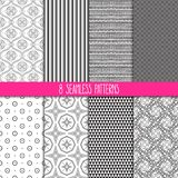 Set of black and white patterns Stock Photos