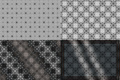Set of  black and white patterns. Set of four black and white patterns Stock Images