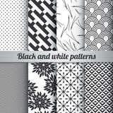 Set of 8 black and white patterns vector. Set of 8 black and white patterns Royalty Free Stock Photo