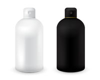Set of black and white plastic bottle template for shampoo, shower gel, lotion, body milk, bath foam. Ready for your Stock Photo