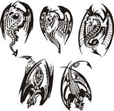 Set of black and white powerful dragons. Vector illustration Stock Photos