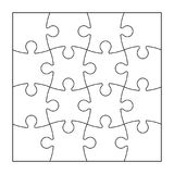 Set of puzzle pieces. Set of black and white puzzle pieces isolated on white background. Vector illustration Stock Photo