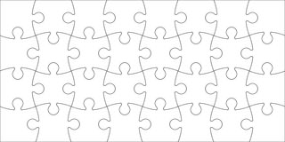 Set of puzzle pieces. Set of black and white puzzle pieces isolated on white background. Vector illustration Royalty Free Stock Photo