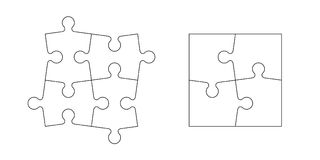 Set of puzzle pieces. Set of black and white puzzle pieces isolated on white background. Vector illustration Stock Images