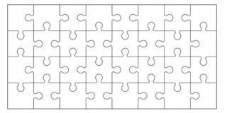 Set of puzzle pieces. Set of black and white puzzle pieces isolated on white background. Vector illustration stock illustration
