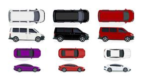 Set of black and white, red cars. Side view and top view. Volumetric drawing without a grid and a gradient. Isolated on. White background. Vector illustration vector illustration