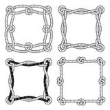 Set of black and white rope vector square frames. Set of 4 black and white rope vector square frames with knots and loops Stock Photos