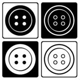Set of black and white round clothing buttons icon. Vector illustration vector illustration