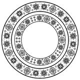 Set of black and white round frame. With stylized ethnic embroidery.  Vector element for design of cards, invitations, banners and your creativity Stock Image