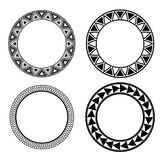 Set of black and white round frames with geometric pattern. Vector element for invitations, cards and your design Stock Photography