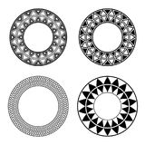 Set of black and white round frames with geometric pattern. Vector element for invitations, cards and your design Stock Photo