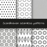 Set of 6 black and white Scandinavian seamless patterns. Ethnic background with shape elements. Vector illustration EPS 10 Stock Illustration