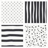 Set of 4 black and white Scandinavian trend seamless pattern - black stripes, polka dots  background, retro black and white textur Stock Image
