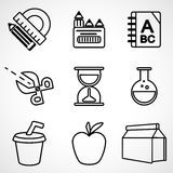 A set of black and white school icons. A set of black and white icons for the computer Royalty Free Stock Photos