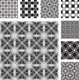 Set of black and white seamless decor Royalty Free Stock Image