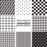 Set of black and white seamless geometric patterns 3 Stock Image