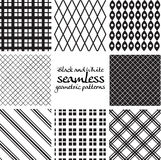 Set of black and white seamless geometric patterns 6 Stock Images
