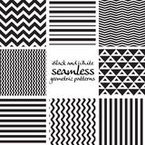 Set of black and white seamless geometric patterns 1 Royalty Free Stock Image