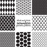 Set of black and white seamless geometric patterns 5 Royalty Free Stock Photos