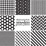 Set of black and white seamless geometric patterns Royalty Free Stock Images