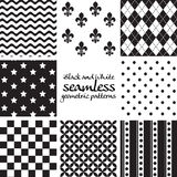 Set of black and white seamless geometric patterns 4 Stock Photos