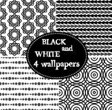 Set of 4 black and white seamless ornamental patterns. Vector illustration Royalty Free Stock Photography