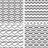 Set of black and white seamless pattern Royalty Free Stock Photo