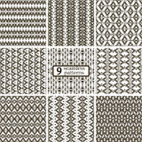 Set of 9 black and white seamless patterns with ethnic motifs Stock Photo