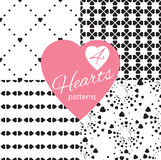 Set of Black&White seamless patterns with hearts. Stock Images