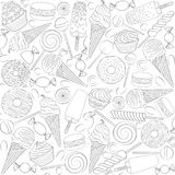 Set of black and white seamless patterns with sweets. Vector illustration Royalty Free Stock Image