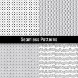 Set of black white seamless patterns Stock Photography