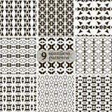 Set of black and white seamless sagittate patterns Royalty Free Stock Photo
