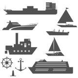 Set of black and white ship icons Stock Image