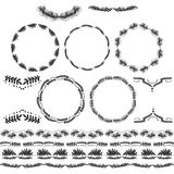 Set of black and white silhouette circular laurel foliate wheat wreaths. Stock Photo