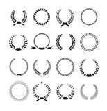 Set of black and white silhouette circular laurel. Foliate and wheat wreaths depicting an award achievement heraldry nobility and the classics vector stock illustration