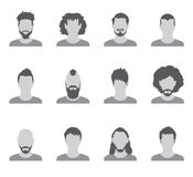 Set of black and white silhouettes of avatar men on a white background Royalty Free Stock Image