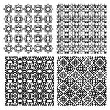 A set of black and white simple geometric monoline patterns in art deco style Stock Photos