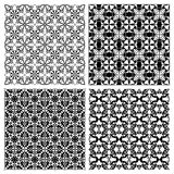 Set of black and white simple geometric monoline patterns in art deco style Royalty Free Stock Photo