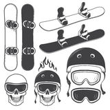 Set of black and white snowbords elements. Set of black and white snowbords and designed snowboarding elements. Extreme theme, winter sport, outdoors adventure Stock Photography