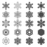 Set of black and white snowflakes illustrations. Isolated vector objects. Royalty Free Stock Photo