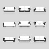 Set of black and white sofas Stock Photos