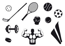 Set black and white sport icons. Various types sports equipment. Icons for the various types of sports. Sports Icons with white background. Set of icons Stock Photos